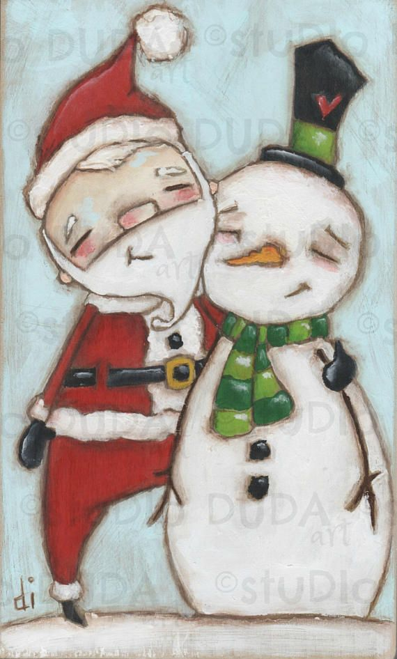 Original Folk Art Whimsical Christmas Painting On Wood