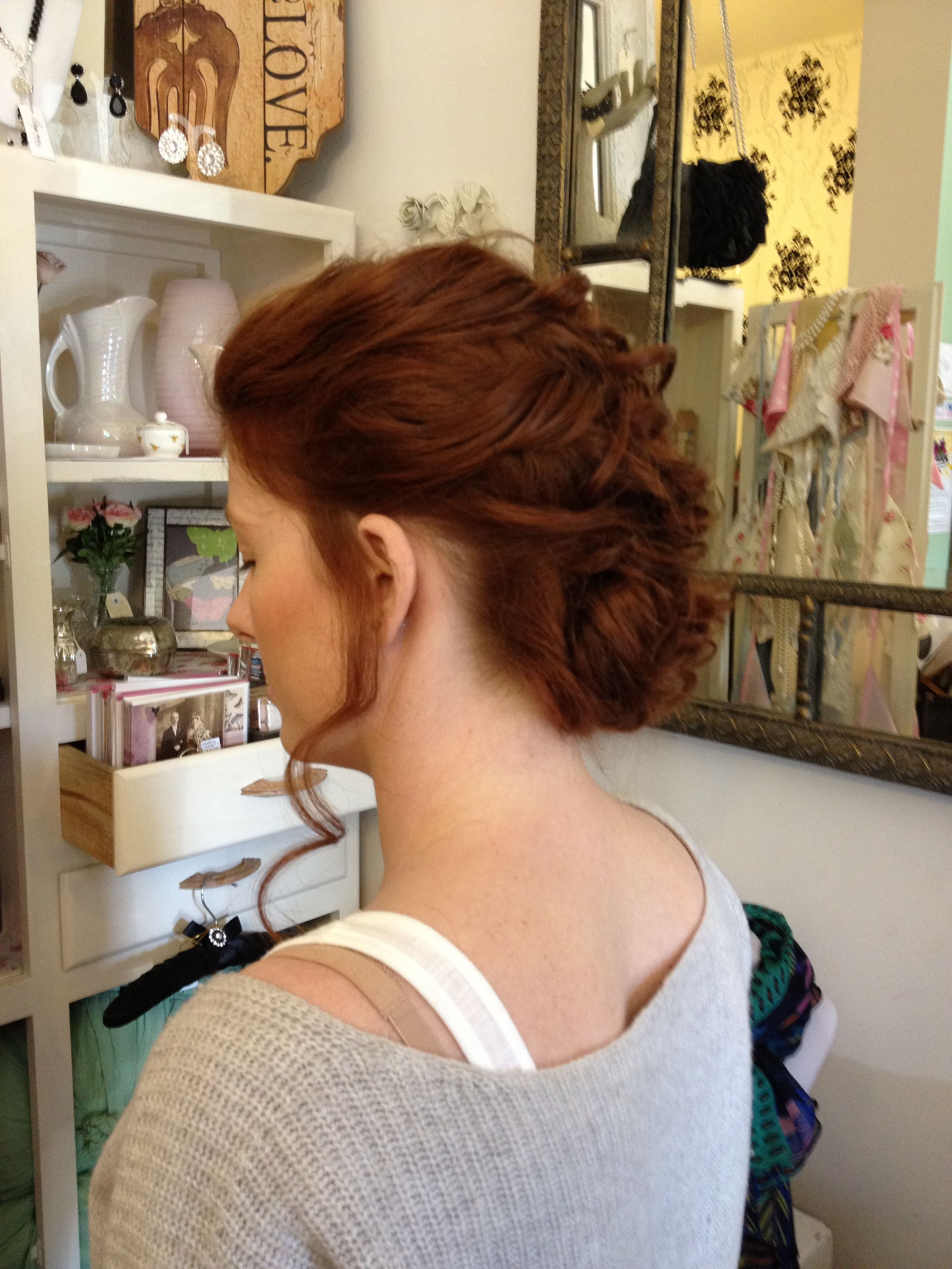 Wedding trial hairdo by the girl in the green scarf vintage