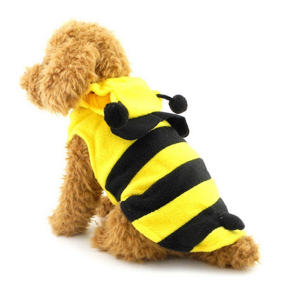 Selmai Halloween Yellow Bumble Bee Costume Hooded For Small Dog Cat Puppy Fleece Hoodie Vest Pullover Size L C Dog Halloween Costumes Dog Halloween Bee Dog