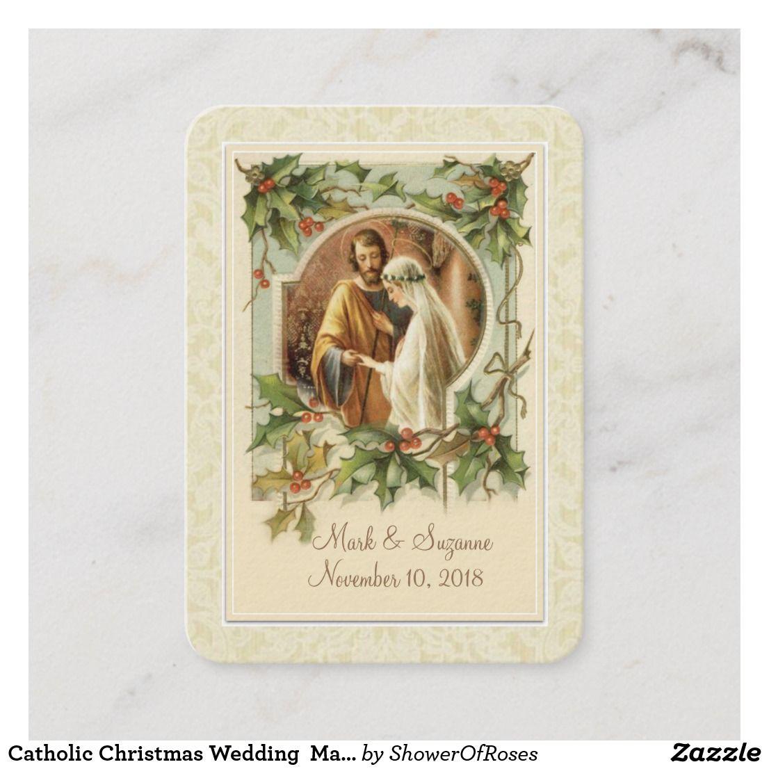 Catholic Christmas Wedding Mary Joseph Holy Card Zazzle
