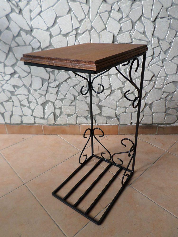 Tavolino tavolo ferro battuto legno salva spazio divano salotto rustico country rustico ferro - Mobili da giardino in ferro battuto ...