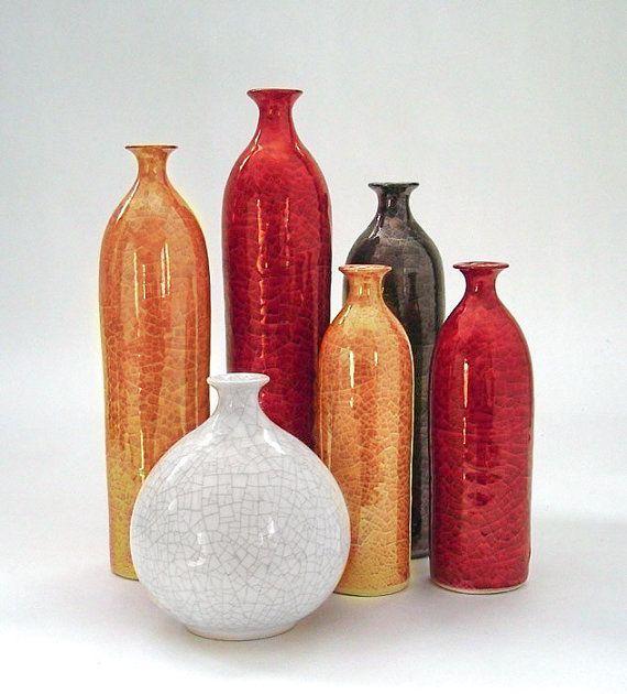 Six Straight Ceramic Vases Ceramic Home Decor White Minimal Wheel