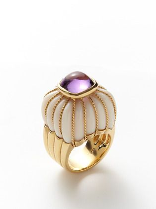 Mysterious Amethyst & White Coral Dome Ring