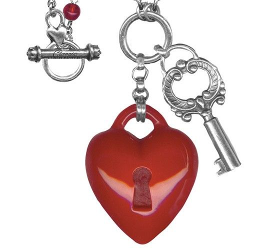 Heart and Key Long Retrolite Necklace by Classic Hardware