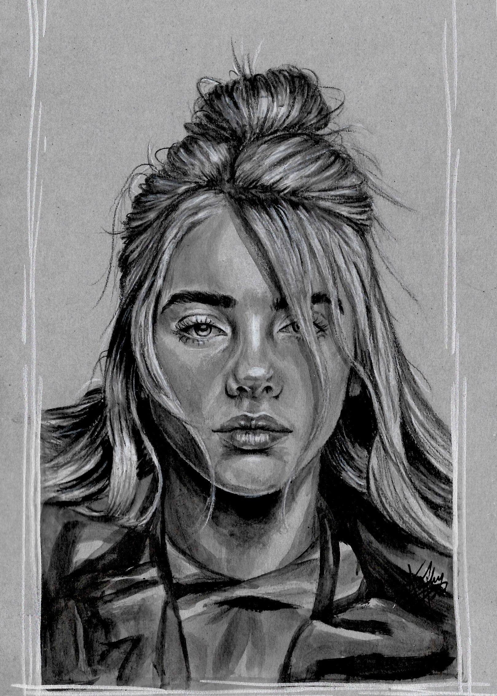 """billie eilish"" signed print  Πορτρέτο με μολύβι Σκίτσα"