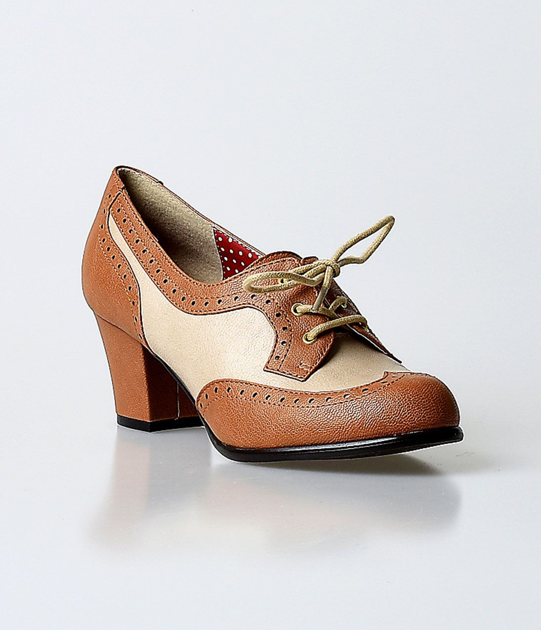 Brown cream 1940s oxford shoes. B.A.I.T. 1940s Camel Faux Napa Leather  Remmy Oxford Pumps $72.00