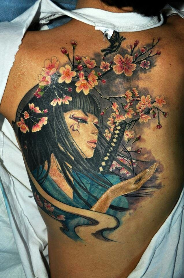 Back tattoo. Japanese inspired.