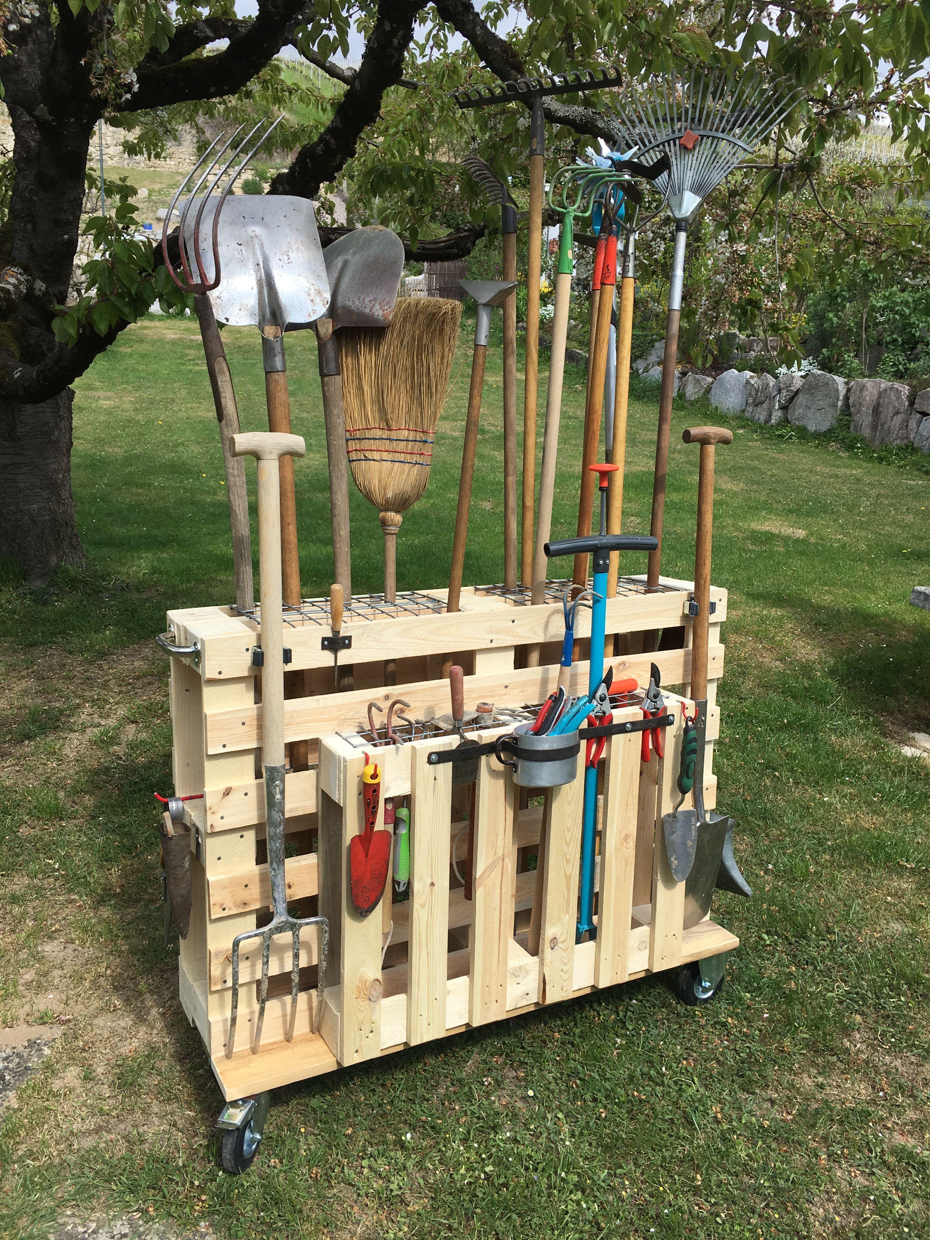 Gartengeräte Organisieren, Palettenwagen Mit Rollen