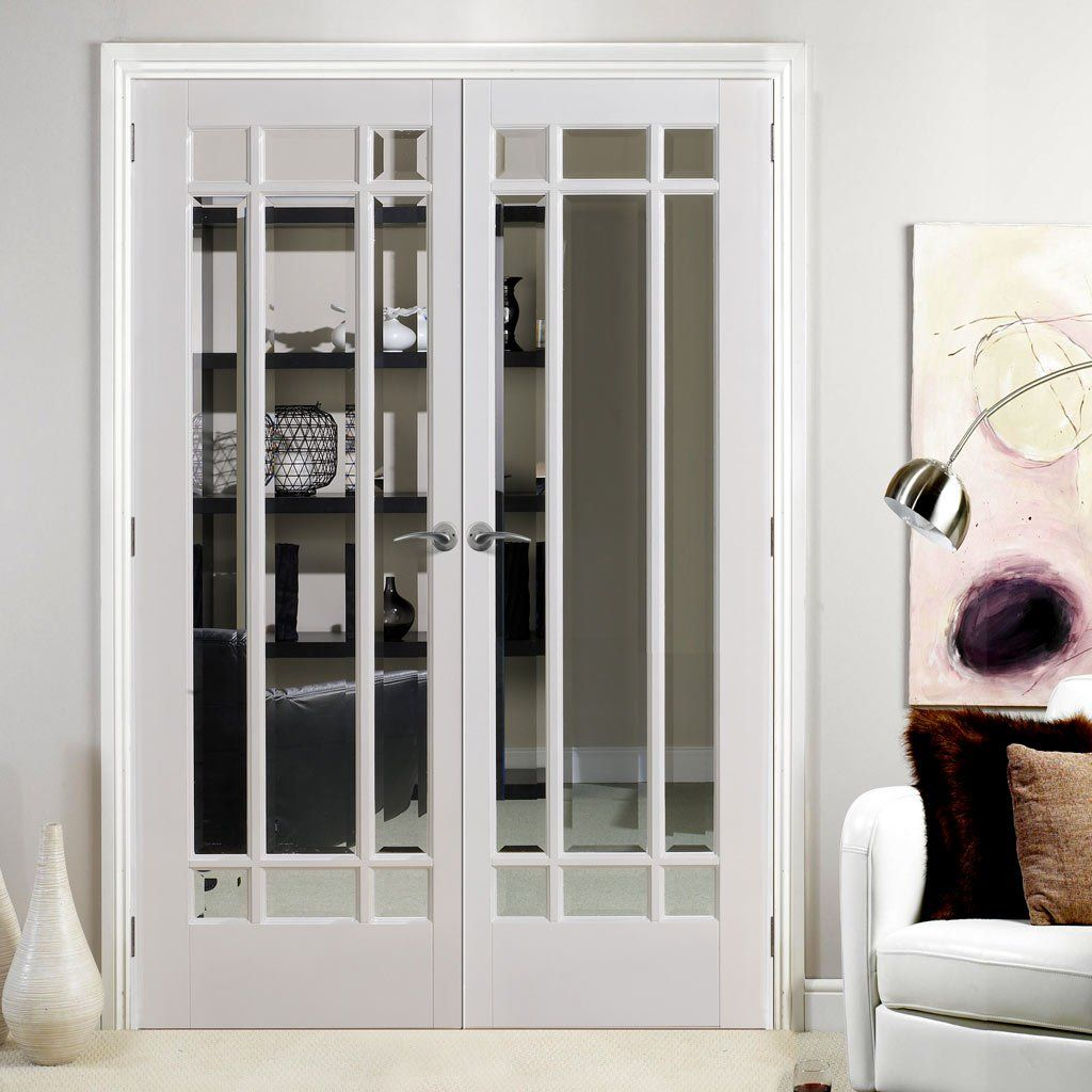 Manhattan Door Pair With Bevelled Clear Glass And Fully Primed