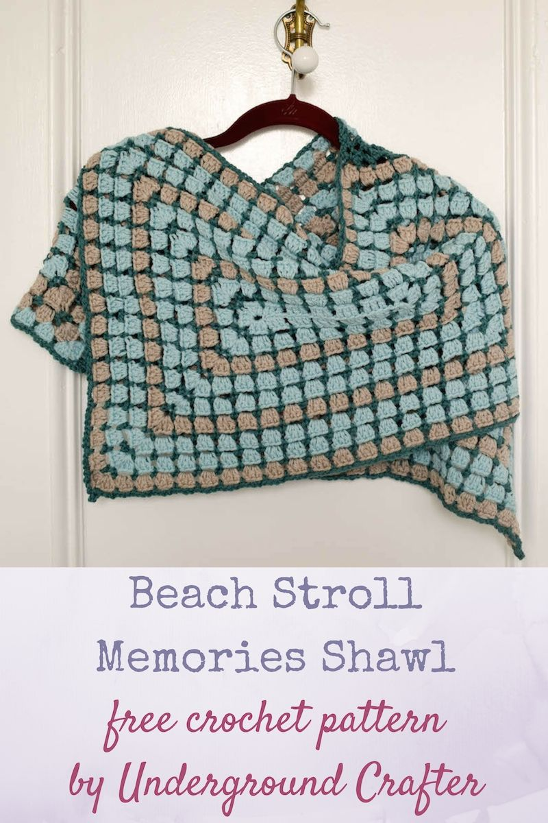 Beach Stroll Memories Shawl, free crochet pattern in Cloudborn Superwash Merino Worsted Twist yarn by Underground Crafter   I love the soothing, repetitive motions of making granny squares. This rectangular shawl uses a variation on the traditional granny square pattern. It's easy to adapt the pattern to your favorite size. The stitch pattern allows for a bit of air flow so you don't get too hot when wearing it. via @ucrafter