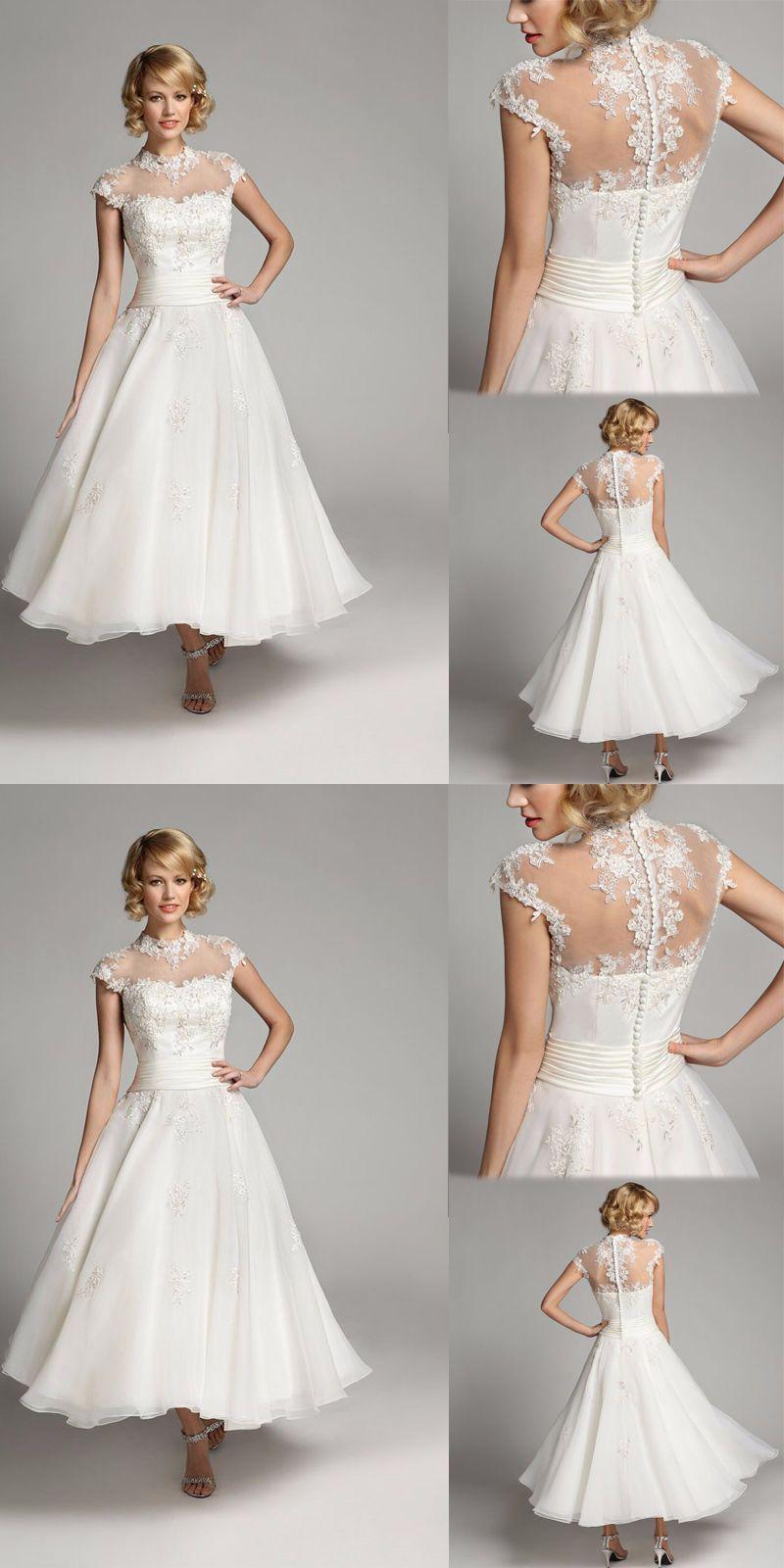 Wedding dresses vintage short wedding dress tea length white