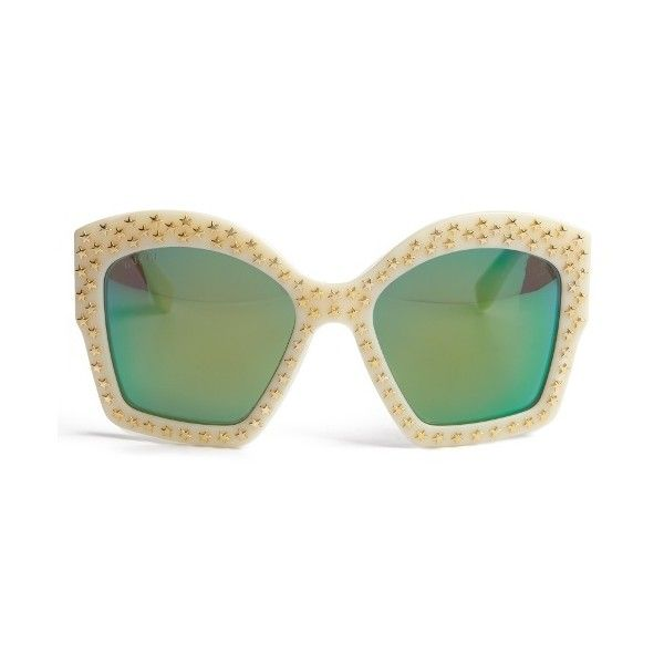 e41cf2a8b2 Gucci Oversized square-frame sunglasses (£420) ❤ liked on Polyvore  featuring accessories