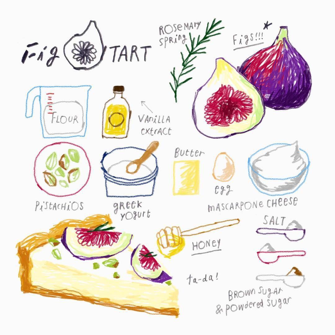 Fig tart illustration  _ 겉도 예쁘고 속도 예쁜  무화과로 만드는 타르트입니다. _