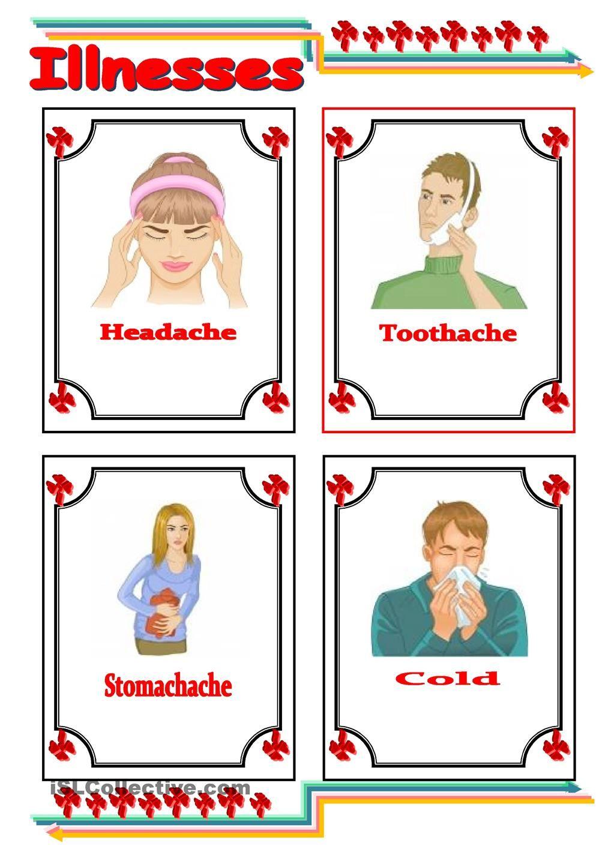 Common Illnesses Flashcards Englishsheets Pinterest
