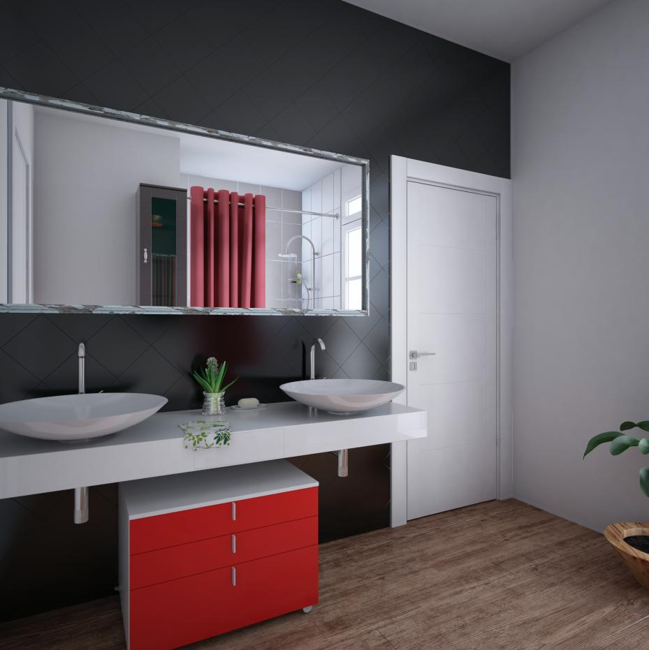 Napoli negro ba o con rojo lavamanos bowls espejo for Griferia negra bano