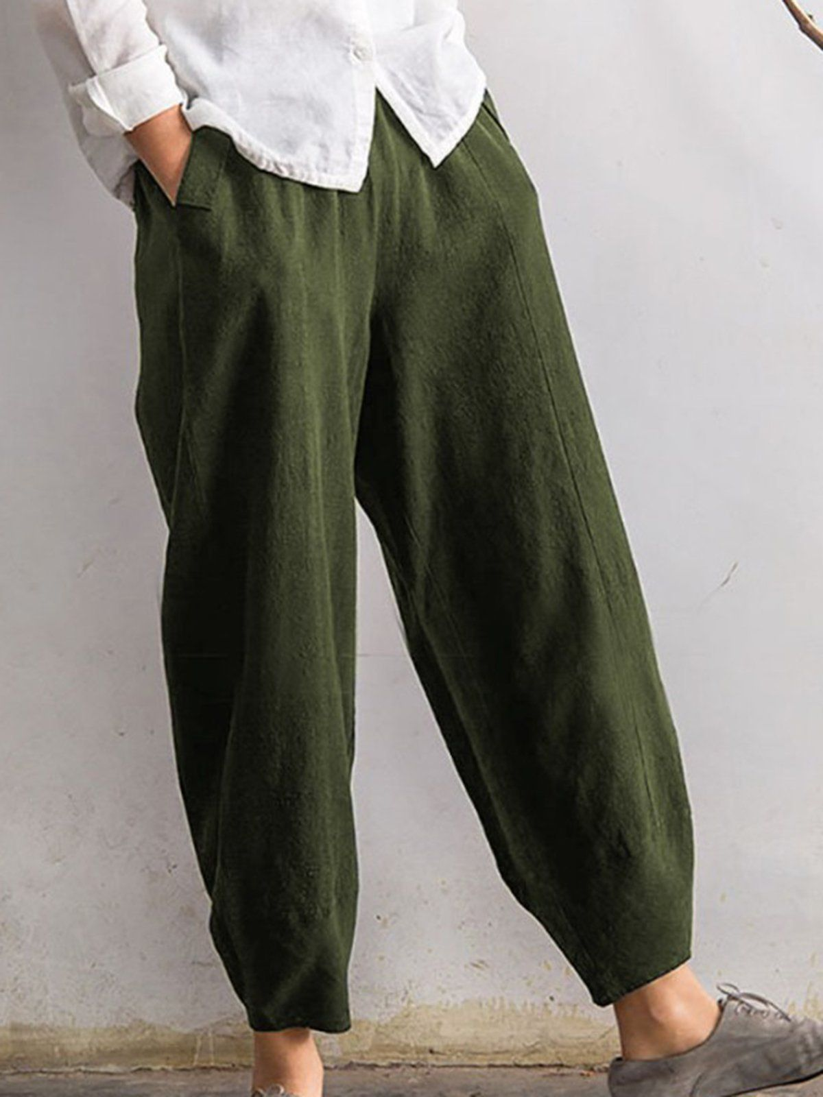 Women Plus Size Casual Daily Solid Cotton Pants In 2020 Green Linen Pants Casual Bottoms Casual Linen Pants