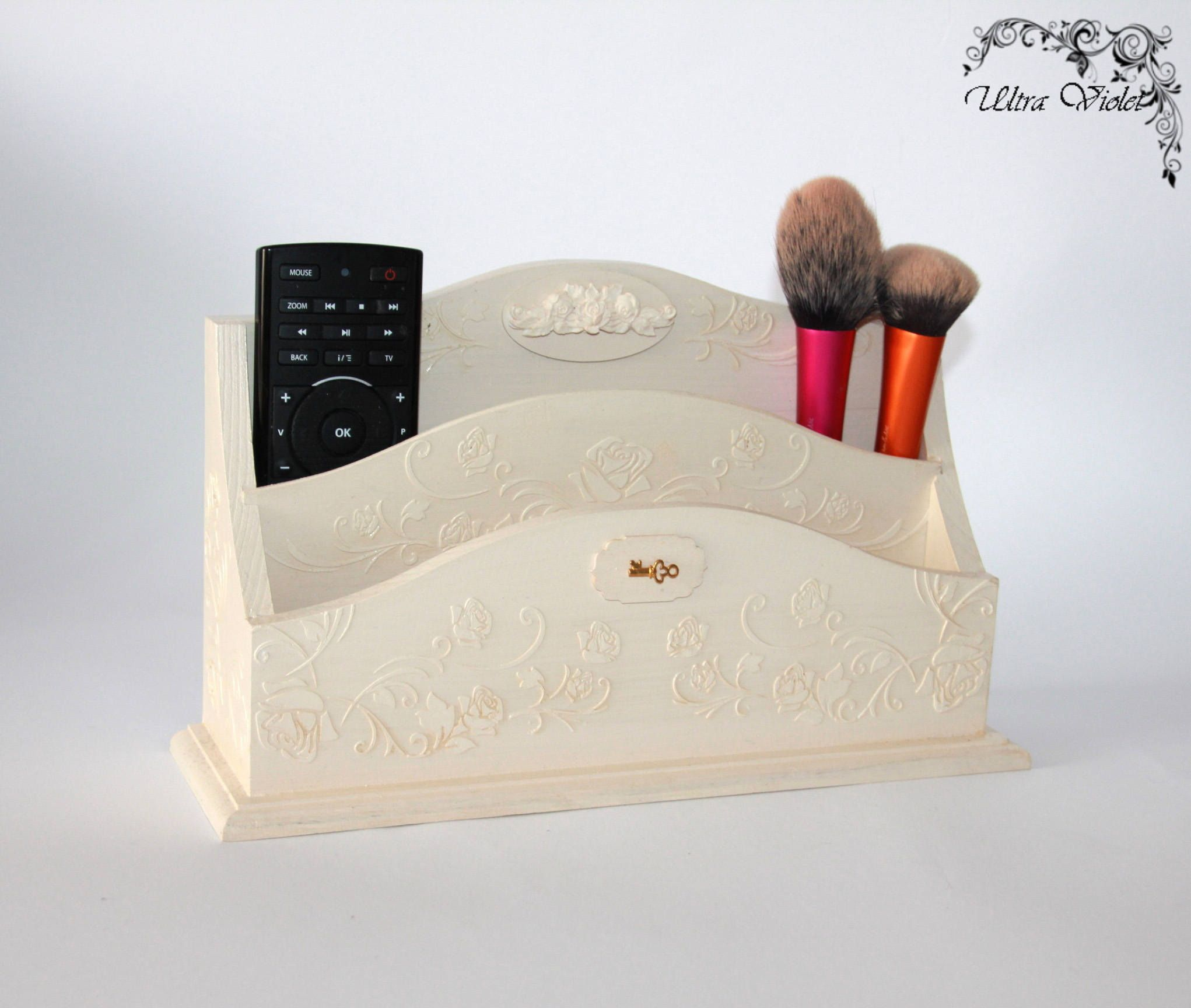 Desk Organizer, Desk Storage, Business Card Holder, Clock, Office Supplies,