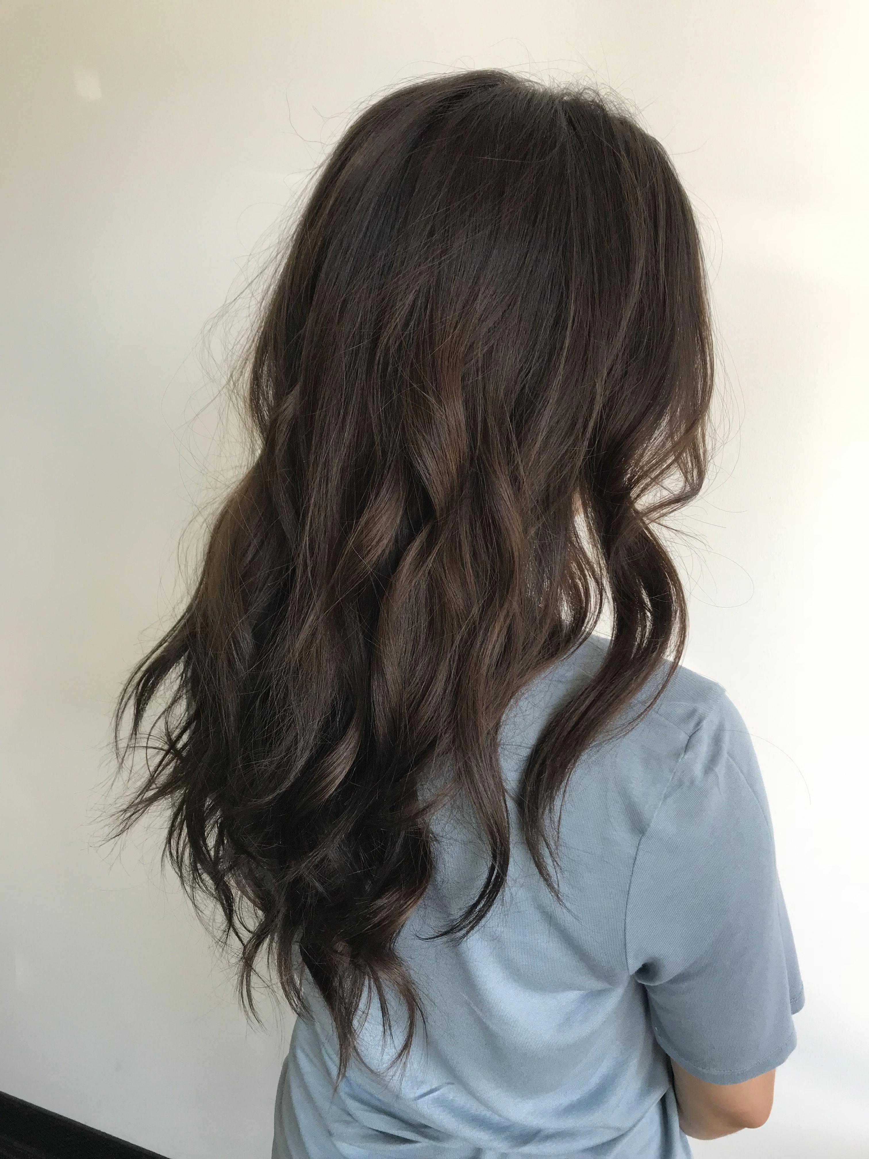 Mushroom Brown Brunette Subtle Balayage Ash Curlyhair Brownhairbalayage Coffee Brown Hair Brown Hair Dye Asian Hair