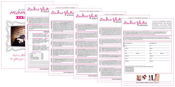 Photography Templates - Wedding Contract Template - Photoshop - wedding contract templates