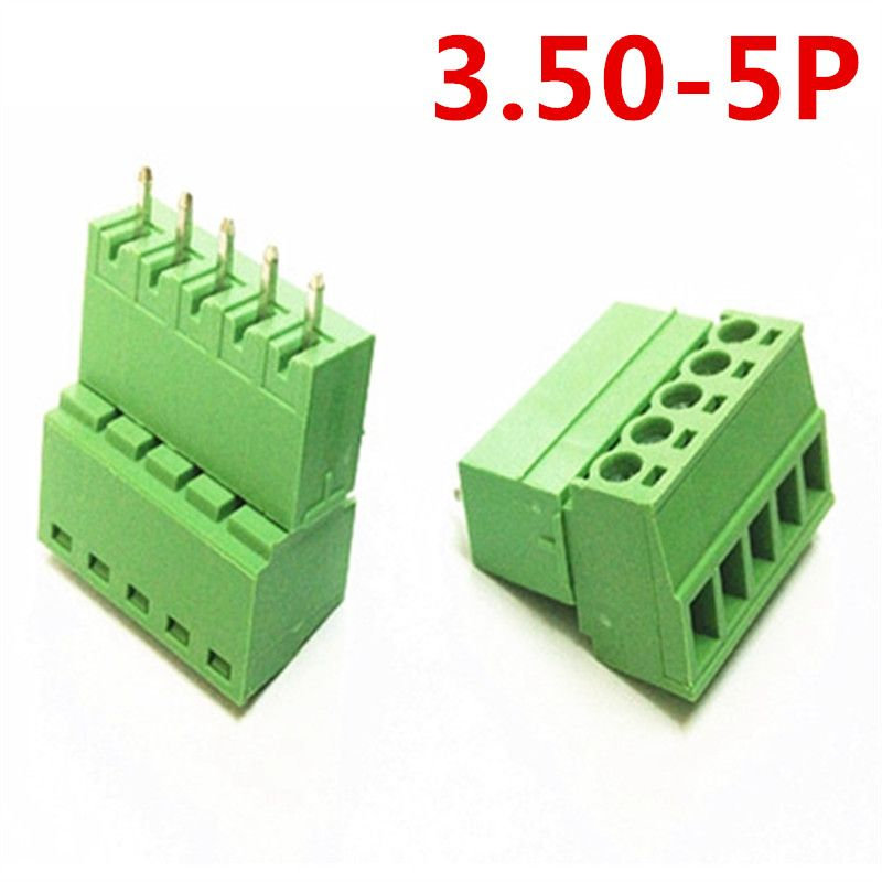 10sets 5 Pin Pcb Electrical Pitch Pluggable Type Straight 15edg 3 5mm Screw Green Terminal Block Connector Pin Header And Socket Electricity Connector Sockets