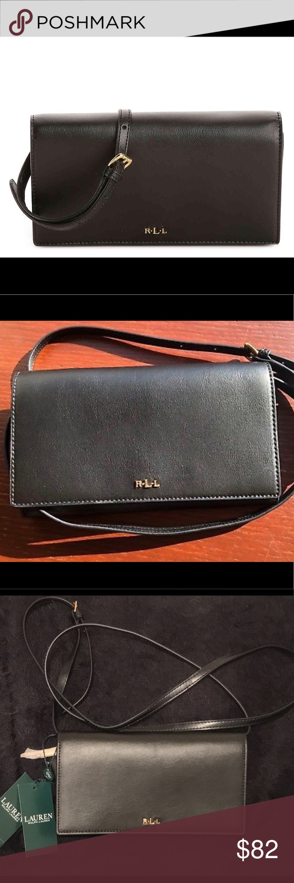 63a94abf08 Ralph Lauren Black Leather Crossbody Wallet Purse Lauren Ralph Lauren Dowell  Xbody Leather Bag. Brand