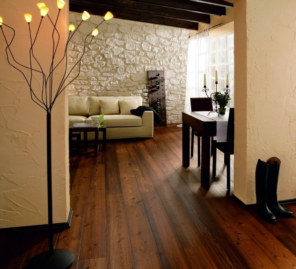 Dark Brown Rustic Wood Flooring Ideas Combined With Black