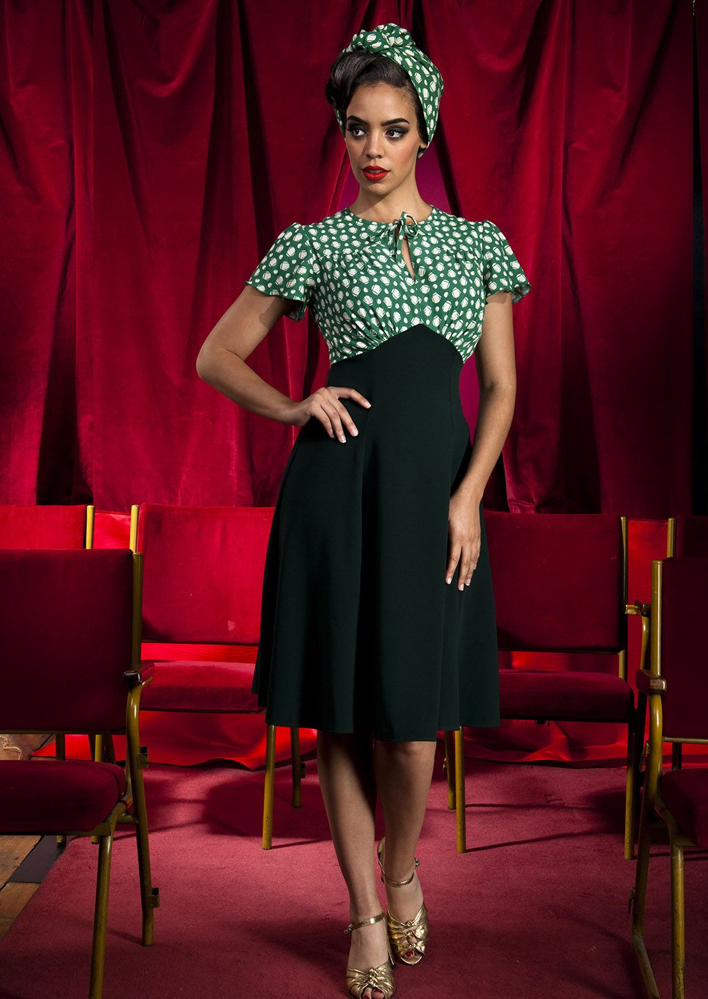 ffc6edead08 1940s Style Grable Tea Swing Dance Dress in Emerald Deco Dot