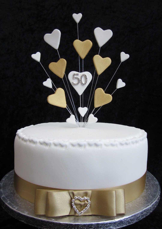 50th Golden Wedding Anniversary Birthday Cake Topper