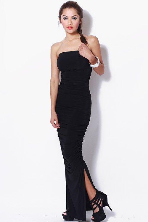 06e3ea109a  clubwear21.com  dress  fashion black ruched strapless tube side slit  evening maxi dress- 36.00