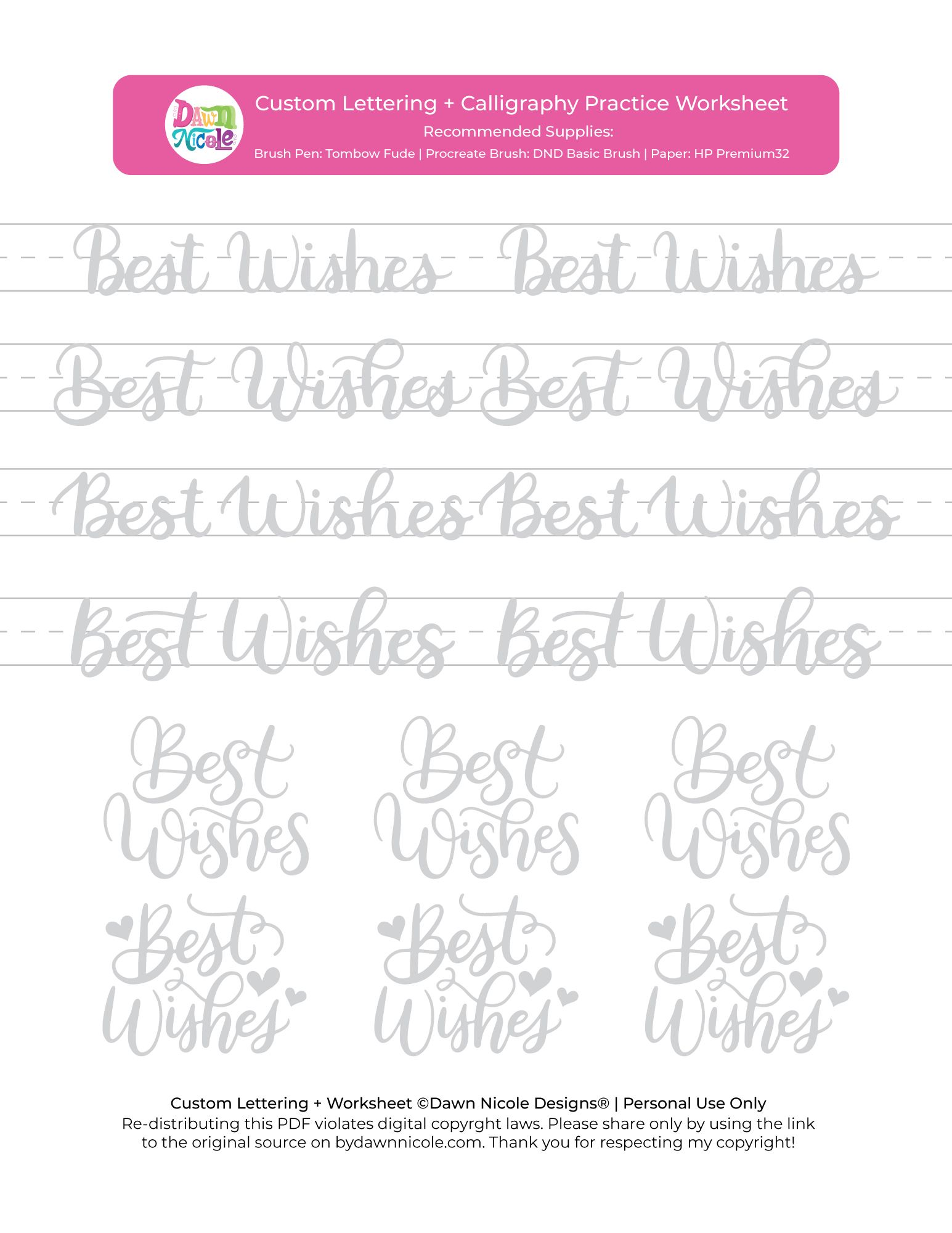 Best Wishes Brush Calligraphy Practice Sheets