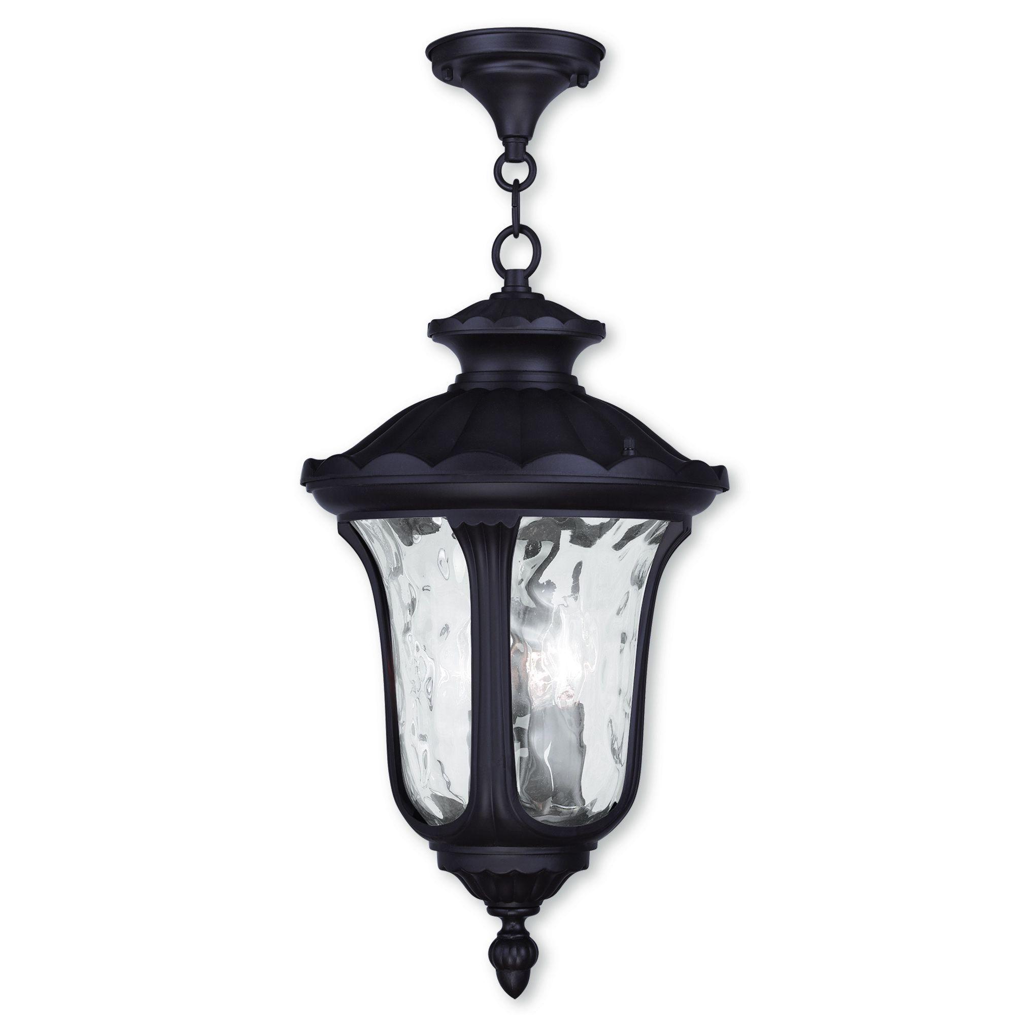 Livex Lighting Oxford Bronze-finish Aluminum 3-light Outdoor Chain Lantern (Bronze), Brown