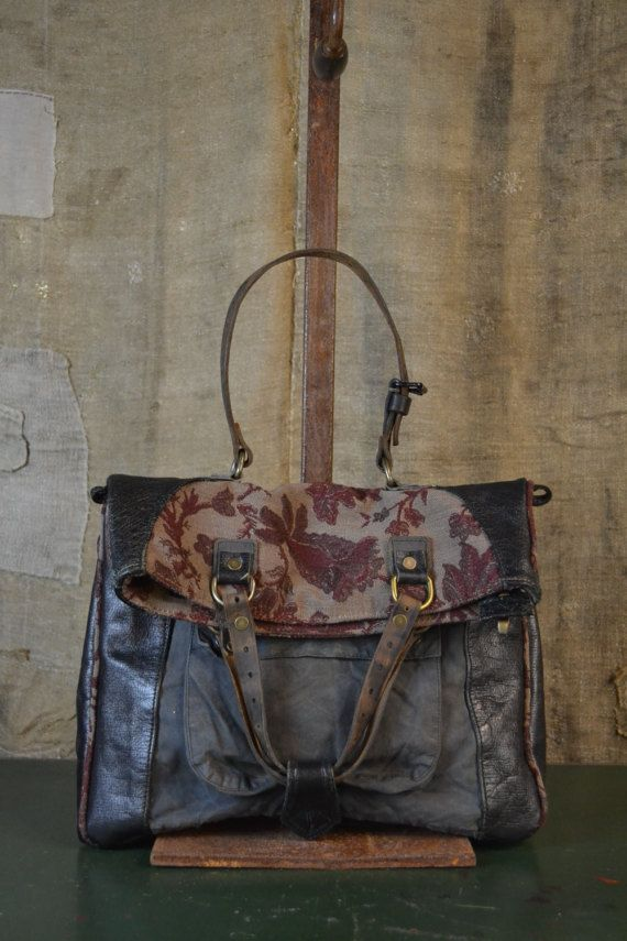 RECYCLE LEATHER HANDBAG Vintage recycle Italian bags