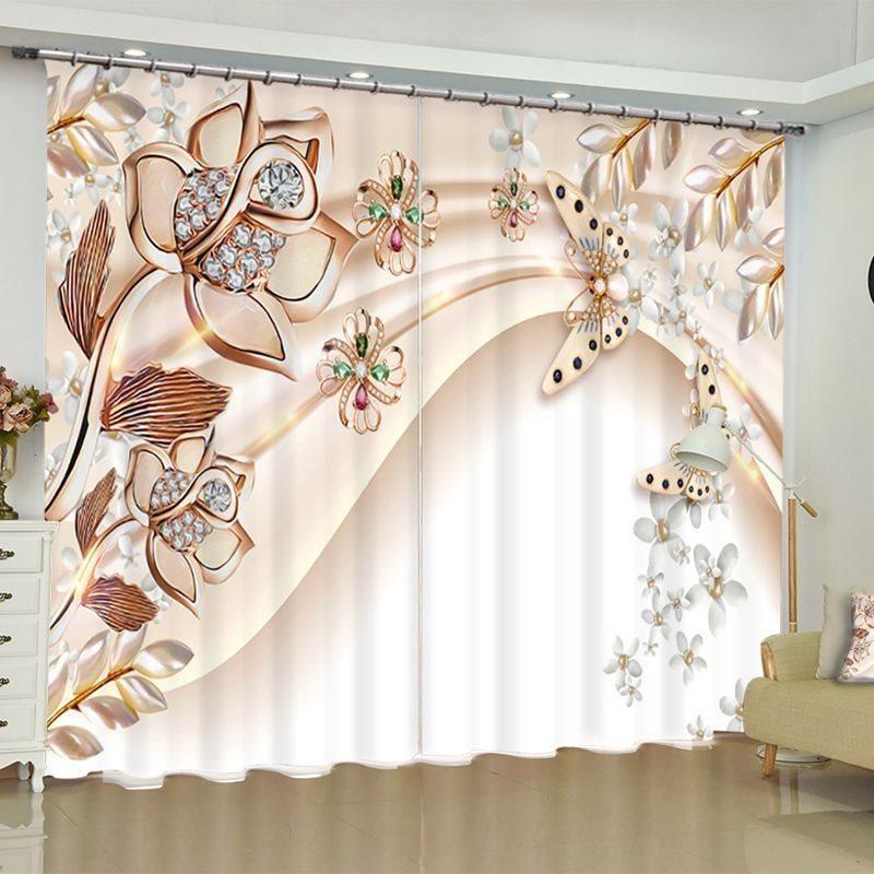 European Double Curtain 3D Curtain Blockout Photo Printing Curtains Drape Fabric