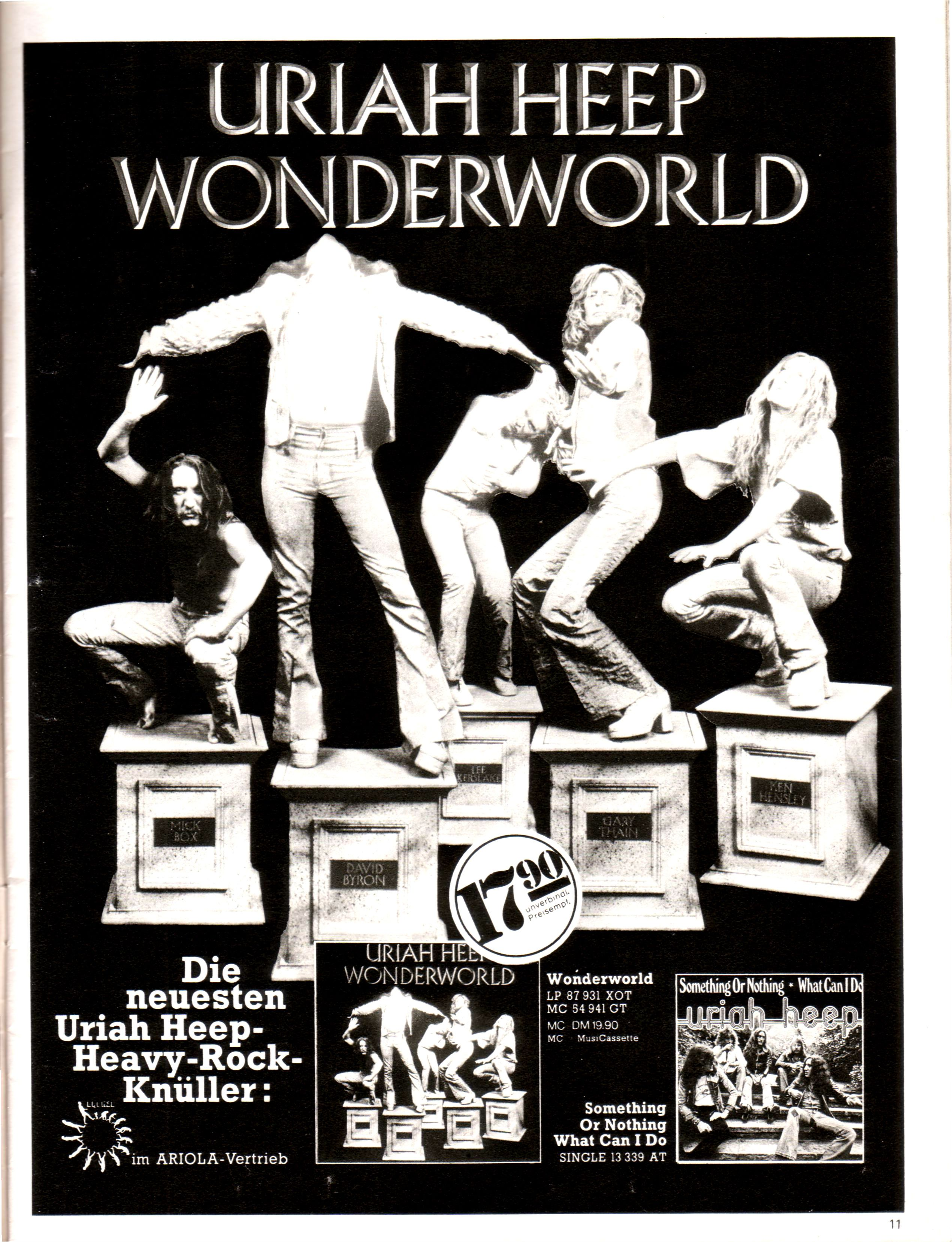 Uriah Heep Wonderworld Advert 1974 Music Concert Posters Uriah Heep