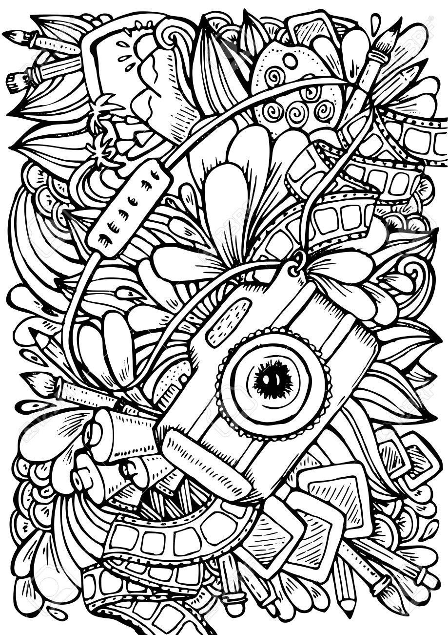 Camera Photography Coloring Pages Google Search Abstract Coloring Pages Anti Stress Coloring Book Stress Coloring Book
