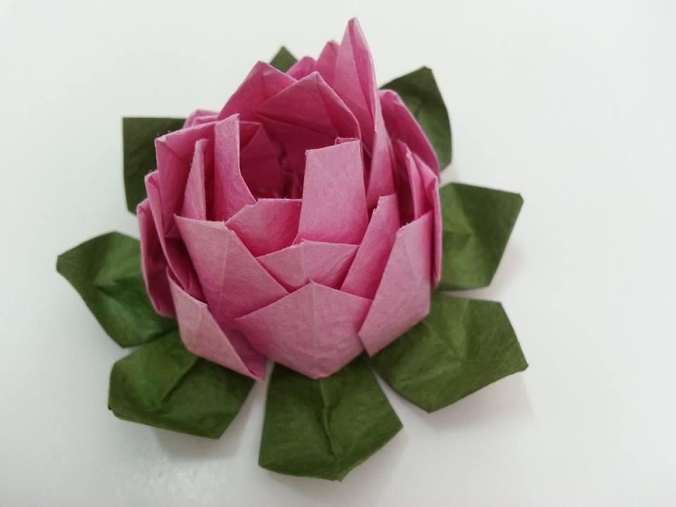 How to make paper lotus flower yelomdiffusion diy tutorial diy flowers bows tutorial fold the paper lotus flower how to make mightylinksfo