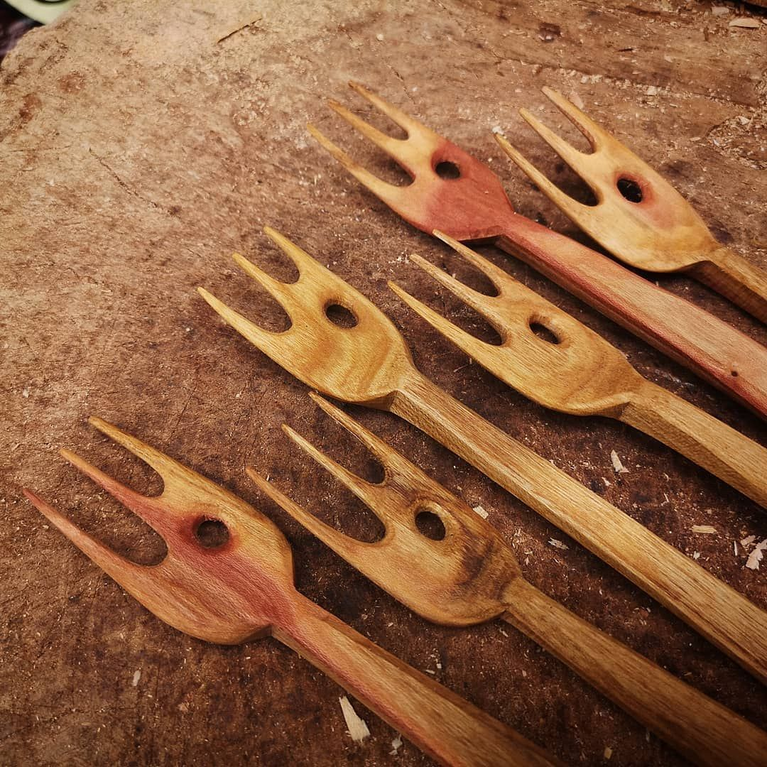 The responses to my last post have made me feel really positive. It is great to hear and see people playing with materials and shapes and not taking things too seriously. There is room for everyone! . P.s how stunning is this cherry?! These forks will be coming with me to @betweenthetreesfestival so if you want one come and grab one! . . . #woodcarving # #woodcarvingtoo The responses to my last post have made me feel really positive. It is great to hear and see people playing with materials and #woodcarvingtoo