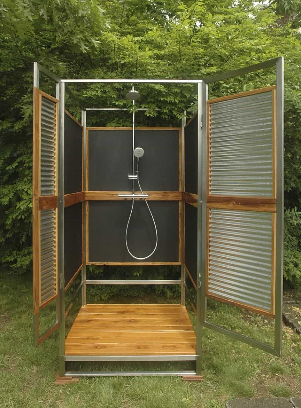 Outdoor shower enclosure with rainfall shower head outdoor shower enclosures for amazing additions