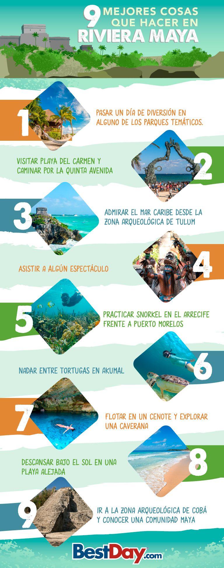 Infografía Qué Hacer En Riviera Maya El Blog De Viajes De Bestday Vacaciones En Mexico México Riviera Maya Viajes A Cancun