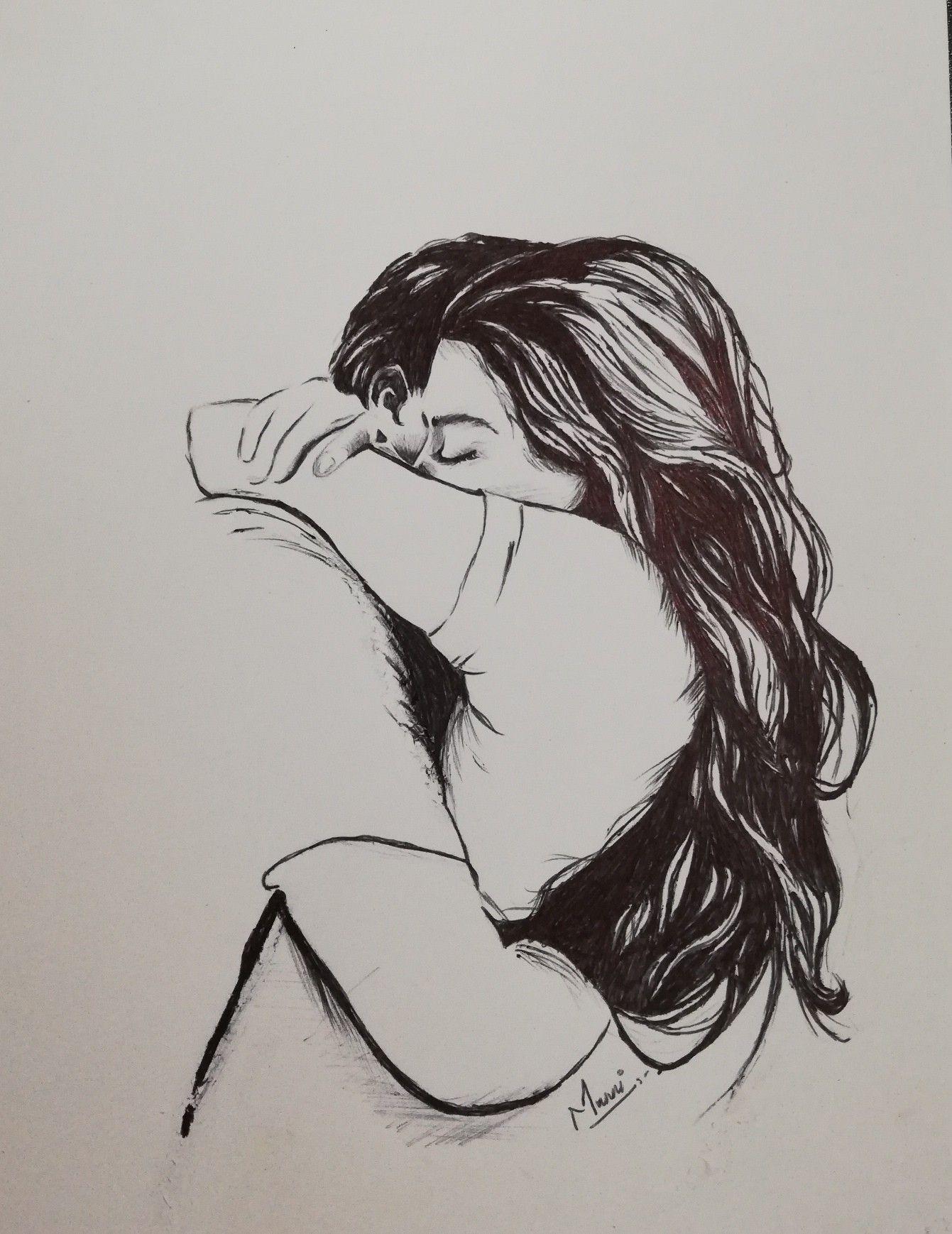 Pen art of romantic couple