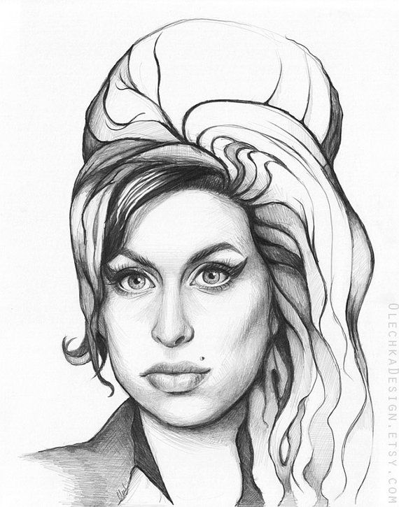 Amy Winehouse Drawing Amy Winehouse Portrait Original Drawing