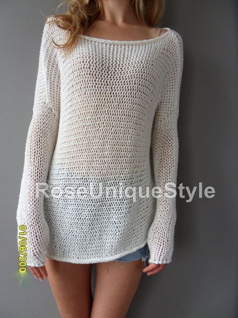 d5ef3e8a4 Slouchy  Spring Summer cotton blend sweater. Loose knit sweater ...