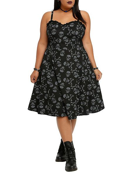 Tripp Skull Print Swing Dress Plus Size | Hot Topic | Art ...