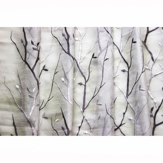 Purple Wine N Lavender Trees Embroidered Sheer Curtain Fabric By The Yard Dry Grommet Window Fl