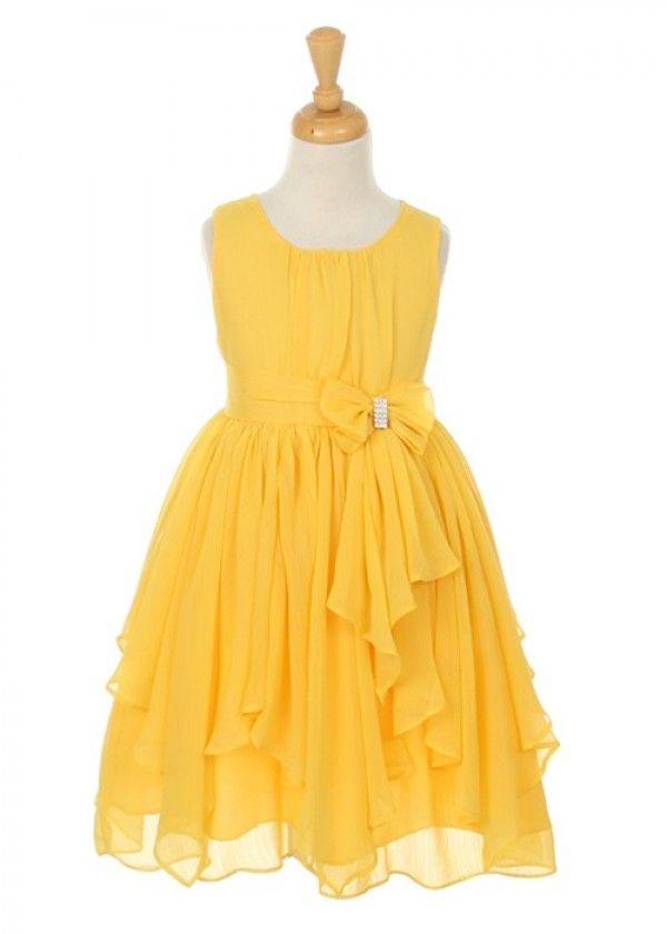 Yellow chiffon girl dress with rhinestone one day my prince will yellow chiffon girl dress with rhinestone mightylinksfo