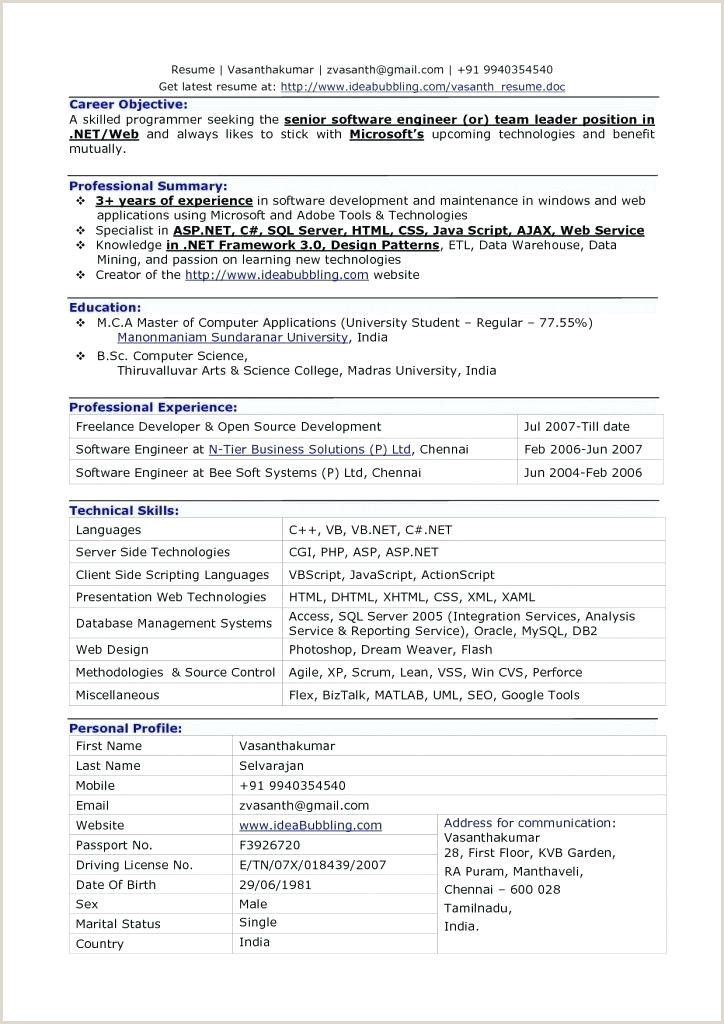 Cv format for Fresher Computer Engineer in 2020 Cv