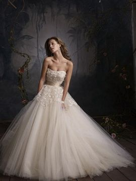 Blush Tulle Bridal Ball Gown Wedding Dresses with Satin Ribbon ...