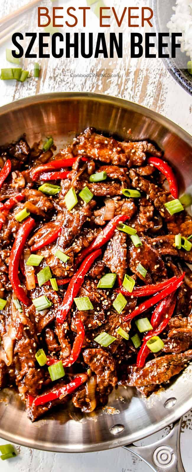 the BEST  Szechuan Beef that is easy to make but better than any restaurant!  It boasts buttery tender beef enveloped in dynamic spicy sauce you have to taste to believe!  #stirfry #beeffoodrecipes #beef #beefrecipes #chinesefoodrecipes #chinesefood #szechuan #dinner #dinnerrecipes #dinnerideas #recipes #recipeoftheday #recipeseasy     via @carlsbadcraving