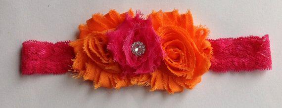 Orange & Hot Pink Shabby Flower Lace Headband, Baby Headband, Toddler Headband, Girls Headband on Etsy, $4.25