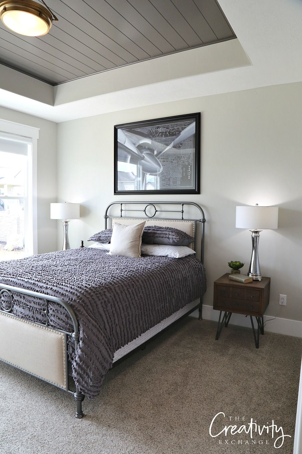 Painted Shiplap Accent Walls in Rich Colors Bedroom